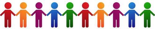 Symbolisierte Menschen in bunten Farben halten sich an den Händen