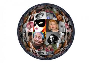 Kugel mit vielen verschiedenen Frauengesichtern aus der ganzen Welt
